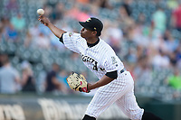 Charlotte Knights starting pitcher Reynaldo Lopez (40) delivers a pitch to the plate against the Durham Bulls at BB&T BallPark on May 16, 2017 in Charlotte, North Carolina.  The Knights defeated the Bulls 5-3. (Brian Westerholt/Four Seam Images)