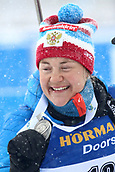 17th March 2019, Ostersund, Sweden; IBU World Championships Biathlon, day 9, mass start women; Ekaterina Yurlova-Percht (RUS) shows her silver medal for 2nd place