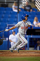 St. Lucie Mets shortstop J.C. Rodriguez (35) follows through on a swing during a game against the Dunedin Blue Jays on April 19, 2017 at Florida Auto Exchange Stadium in Dunedin, Florida.  Dunedin defeated St. Lucie 9-1.  (Mike Janes/Four Seam Images)