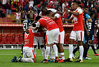 BOGOTA - COLOMBIA - 01 - 03 - 2018: Los jugadores de Independiente Santa Fe (COL)celebran el gol anotado a Emelec (ECU) durante partido entre Independiente Santa Fe (COL) y Emelec (ECU), de la fase de grupos, grupo 4, fecha 1 de la Copa Conmebol Libertadores 2018, jugado en el estadio Nemesio Camacho El Campin de la ciudad de Bogota. / The players of Independiente Santa Fe (COL), celebrate a scored goal to Emelec (ECU) during a match between Independiente Santa Fe (COL) and Emelec (ECU), of the group stage, group 4, 1st date for the Conmebol Copa Libertadores 2018 at the Nemesio Camacho El Campin Stadium in Bogota city. Photo: VizzorImage  / Luis Ramirez / Staff.