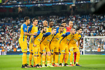 Players of APOEL FC line up and pose for a photo prior to the UEFA Champions League 2017-18 match between Real Madrid and APOEL FC at Estadio Santiago Bernabeu on 13 September 2017 in Madrid, Spain. Photo by Diego Gonzalez / Power Sport Images