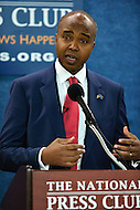 Washington, DC - June 2, 2016: Mohamed Abdirizak, a candidate running for president of Somalia, holds a news conference on the issues facing Somalia at the National Press Club in the District of Columbia, June 2, 2016. Abdirizak, who announced his candidacy May 6, was born in Mogadishu and is founder and executive director of Somali One, a non-profit organization that promotes peace and democratic governance.  (Photo by Don Baxter/Media Images International)