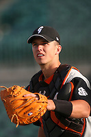 April 28 2009: Buster Posey of the San Jose Giants before game against the Lancaster JetHawks at Clear Channel Stadium in Lancaster,CA.  Photo by Larry Goren/Four Seam Images