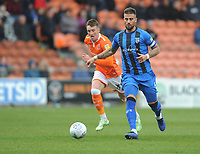 Gillingham's Max Ehmer under pressure from Blackpool's Chris Long<br /> <br /> Photographer Kevin Barnes/CameraSport<br /> <br /> The EFL Sky Bet League One - Blackpool v Gillingham - Saturday 4th May 2019 - Bloomfield Road - Blackpool<br /> <br /> World Copyright © 2019 CameraSport. All rights reserved. 43 Linden Ave. Countesthorpe. Leicester. England. LE8 5PG - Tel: +44 (0) 116 277 4147 - admin@camerasport.com - www.camerasport.com