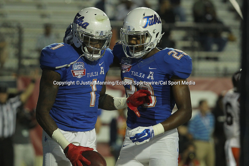 December 26, 2015: Tulsa WR #1 Keyarris Garrett and #29 Justin Hobbs celebrating after scoring on a two point conversion during the 2nd half of the Camping World Independence Bowl at Independence Stadium in Shreveport, LA. Justin Manning/ESW/CSM