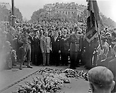Paris, France - August 26, 1944 -- General Charles De Gaulle climaxes a victory parade honoring the liberators of Paris, France on August 26, 1944 by placing a wreath on the grave of the French Unknown Soldier..Credit: U.S. Army via CNP