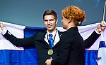 Lille - France- 05 October 2014 --  Euroskills 2014 competition, closing ceremony and medals. -- Team Finland - Oskar Hänninen, pronssi, bronze medalist, painotekniikka / Print Technician. -- PHOTO: SkillsFinland / Juha ROININEN - EUP-IMAGES