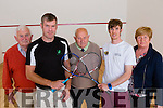 Irish internationals John Hurley and Brian Byrne traveled to Castleisland Community Centre on Satutday to officially open the new Squash court on Saturday l-r: Mike Broderick vice Chairman, John Hurley, Jerry Mahony  Chairman, Brian Byrne and Anne Connor Treasurer