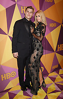 BEVERLY HILLS, CA - JANUARY 07: Actors Paris Hilton and Chris Zylka arrive at HBO's Official Golden Globe Awards After Party at Circa 55 Restaurant in the Beverly Hilton Hotel on January 7, 2018 in Los Angeles, California.
