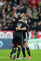 FUSSBALL   CHAMPIONS LEAGUE   SAISON 2012/2013   GRUPPENPHASE   FC Bayern Muenchen - LOSC Lille                          07.11.2012 Jubel mit Thomas Mueller und Franck Ribery (v. li., FC Bayern Muenchen)