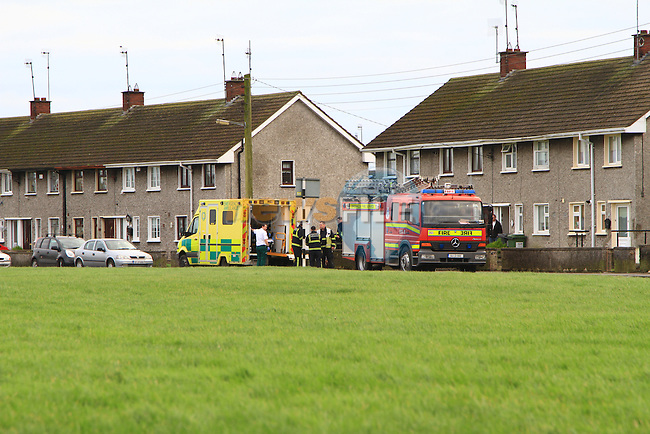 Scene of an incident in Ballsgrove where a man was brought from a house by Ambulance..According to a passer-by; the man, named Matt Stevenson, was being removed from his home after having fallen down the stairs in his house..Picture: Shane Maguire / www.newsfile.ie.