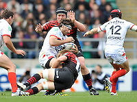.Heineken Cup Semi Final. Saracens v Toulon. Twickenham, England. Juan Fernandez Lobbe of Toulon tackled by Jackson Wray of Saracens. during the Saracens v Toulon in the Heineken Cup Semi Final played at Twickenham Stadium, London, England on April 28, 2013.