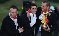 Rory McIlroy (EUR) enjoying the moment with Graeme McDowell (EUR) and Sergio Garcia (EUR) as Europe win  the 2014 Ryder Cup from Gleneagles, Perthshire, Scotland. Picture:  David Lloyd / www.golffile.ie