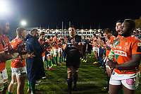 Charlie Ewels of Bath Rugby leads his team off the field after the match. European Rugby Champions Cup match, between Bath Rugby and Benetton Rugby on October 14, 2017 at the Recreation Ground in Bath, England. Photo by: Patrick Khachfe / Onside Images