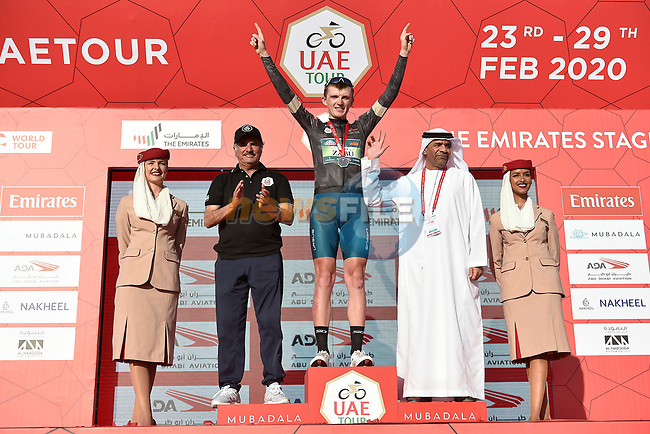 Veljko Stojnic (SER) Vini Zabù-KTM retains the Black Jersey at the end of Stage 3 The Emirates Stage of the UAE Tour 2020 running 184km from Al Qudra Cycle Track to Jebel Hafeet, Dubai. 25th February 2020.<br /> Picture: LaPresse/Fabio Ferrari | Cyclefile<br /> <br /> All photos usage must carry mandatory copyright credit (© Cyclefile | LaPresse/Fabio Ferrari)