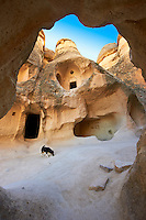 Early Christian rock cave churches in the tuff volcanic rock of Zelve, Cappadocia, Turkey