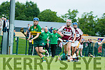Kerry's  Alanna Whelan gets away from Westmeath's Muireann Scally and Katie Egan  at the Kerry v Westmeath Camogie match at Abbeydorney GAA field on Sunday