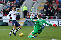 Preston North End's Graham Burke goes one on one with Rotherham United's Marek Rodak but spurns his chance<br /> <br /> Photographer David Shipman/CameraSport<br /> <br /> The EFL Sky Bet Championship - Rotherham United v Preston North End - Tuesday 1st January 2019 - New York Stadium - Rotherham<br /> <br /> World Copyright © 2019 CameraSport. All rights reserved. 43 Linden Ave. Countesthorpe. Leicester. England. LE8 5PG - Tel: +44 (0) 116 277 4147 - admin@camerasport.com - www.camerasport.com