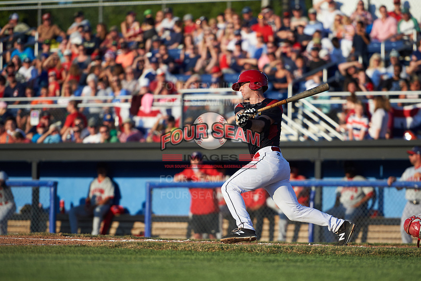 Batavia Muckdogs catcher David Gauntt (7) hits a single in the bottom of the third inning during a game against the Auburn Doubledays on July 4, 2017 at Dwyer Stadium in Batavia, New York.  Batavia defeated Auburn 3-2.  (Mike Janes/Four Seam Images)