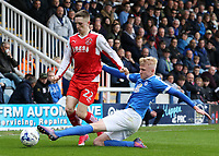 Fleetwood Town's Ashley Hunter is tackled by Peterborough United's Lewis Freestone<br /> <br /> Photographer David Shipman/CameraSport<br /> <br /> The EFL Sky Bet League One - Peterborough United v Fleetwood Town - Friday 14th April 2016 - ABAX Stadium  - Peterborough<br /> <br /> World Copyright &copy; 2017 CameraSport. All rights reserved. 43 Linden Ave. Countesthorpe. Leicester. England. LE8 5PG - Tel: +44 (0) 116 277 4147 - admin@camerasport.com - www.camerasport.com