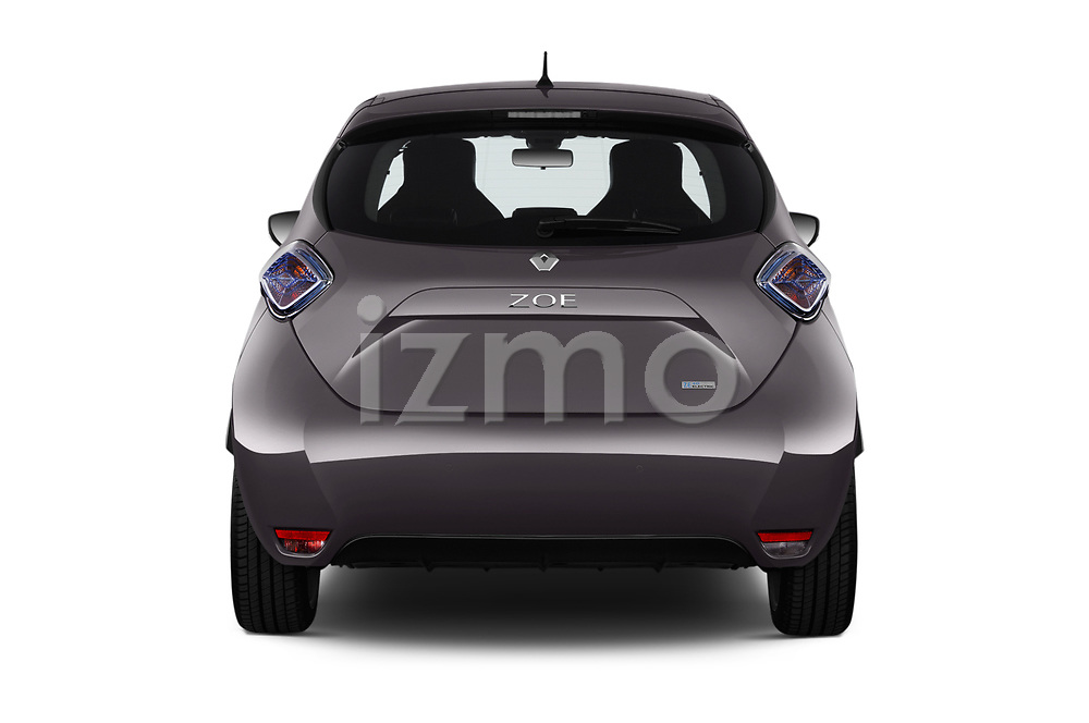 Straight rear view of a 2017 Renault ZOE Bose Edition 5 Door Hatchback stock images