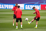 Atletico de Madrid's players Filipe Luis and Antoine Griezmann during the practice session the day before the EUFA Champions League match between Atletico de Madrid and FC. Barcelona at Vicente Calderon in Madrid. April 13, 2016. (ALTERPHOTOS/Borja B.Hojas)
