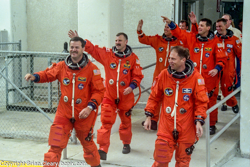 Crew walkout, Richard A. Searfoss, Commander (3rd Shuttle flight)<br /> Scott D. Altman, Pilot (1st)<br /> Richard M. Linnehan, Payload Commander and Mission Specialist (2nd)<br /> Dafydd &quot;Dave&quot; Rhys Williams, Mission Specialist (1st), (Canadian Space Agency)<br /> Kathryn P. &quot;Kay&quot; Hire, Mission Specialist (1st)<br /> Jay C. Buckey, Payload Specialist (1st)<br /> James A. &quot;Jim&quot; Pawelczyk, Payload Specialist (1st)Space Shuttle Columbia, STS-90 mission, Kennedy Space Center, April 1998.  (Photo by Brian Cleary/bcpix.com)