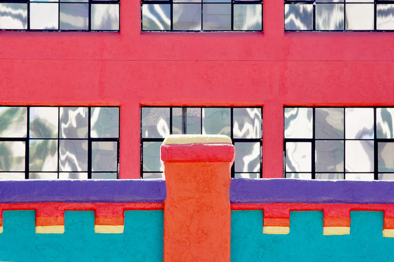 Colorful building with mirror windows in La Placita Village. Tucson. Arizona