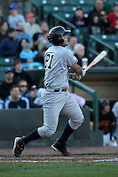 Scranton Wilkes-Barre Yankees catcher Jesus Montero #21 hits a home run during a game against the Rochester Red Wings at Frontier Field on April 9, 2011 in Rochester, New York.  Rochester defeated Scranton 7-6 in twelve innings.  Photo By Mike Janes/Four Seam Images