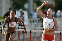 "CALI -COLOMBIA. 25-06-2016. Evelis Aguilar de Colombia y Ana Mileni Pirelli Cubas de Paraguay durante su participación en el Grand Prix Internacional de Atletismo de Mayores ""Valle Oro Puro"" realizado entre el 25 y 26 de junio de 2016 en el estadio Pedro Grajales de la ciudad de Cali. / Evelis Aguilar of Colombia and Ana Mileni Pirelli Cubas of Paraguay during their participation in the Grand Prix International Athletics Open ""Valle Oro Puro"" held between 25 and 26 June 2016 at Pedro Grajales stadium in Cali city. Photo: VizzorImage/ Gabriel Aponte / Staff"
