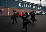 The UEFA match officials arriving at the stadium before Coleraine played Spartak Subotica of Serbia in a Europa League Qualifying First Round second leg at the Showgrounds, Coleraine. The hosts from Northern Ireland had drawn the away leg 1-1 the previous week, however, the visitors won the return leg 2-0 to progress to face Sparta Prague in the next round, watched by a sell-out crowd of 1700.