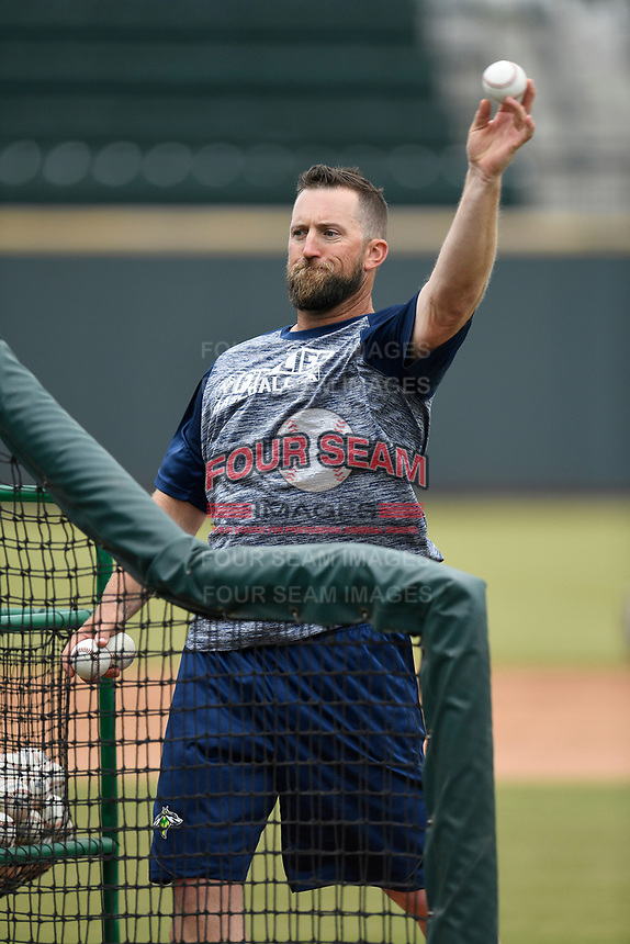 Pitching coach Royce Ring (32) of the Columbia Fireflies pitches batting practice before a game against the Charleston RiverDogs on Friday, April 5, 2019, at Segra Park in Columbia, South Carolina. Charleston won, 6-1. (Tom Priddy/Four Seam Images)