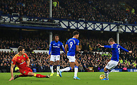 23rd  November 2019; Goodison Park , Liverpool, Merseyside, England; English Premier League Football, Everton versus Norwich City; Gylfi Sigurdsson of Everton shoots at goal as Christoph Zimmermann of Norwich City attempts to block - Strictly Editorial Use Only. No use with unauthorized audio, video, data, fixture lists, club/league logos or 'live' services. Online in-match use limited to 120 images, no video emulation. No use in betting, games or single club/league/player publications