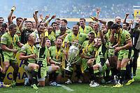 Northampton Saints players celebrate being crowned Aviva Premiership Champions. Aviva Premiership Final, between Saracens and Northampton Saints on May 31, 2014 at Twickenham Stadium in London, England. Photo by: Patrick Khachfe / JMP