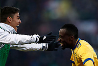 Calcio, Serie A: Bologna vs Juventus, stadio Renato D'Allara, Bologna,17 dicembre 2017.<br /> Juventus' Blaise Matuidi (r) celebrates with his teammate Paulo Dybala (l) after scoring during the Italian Serie A football match between Bologna and Juventus at Bologna's Renato D'Allara stadium, December 17, 2017.<br /> UPDATE IMAGES PRESS/Isabella Bonotto