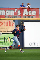 Bowing Green Hot Rods left fielder David Olmedo-Barrera (23) catches a fly ball during a game against the Quad Cities River Bandits on July 24, 2016 at Modern Woodmen Park in Davenport, Iowa.  Quad Cities defeated Bowling Green 6-5.  (Mike Janes/Four Seam Images)