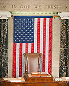 Empty chair usually inhabited by the presiding officer of the United States House of Representatives in the US House Chamber in the US Capitol in Washington, DC on Thursday, October 29, 2015.<br /> Credit: Ron Sachs / CNP