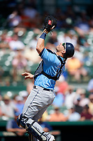 Tampa Bay Rays catcher Mike Zunino (10) settles under a pop up during a Grapefruit League Spring Training game against the Baltimore Orioles on March 1, 2019 at Ed Smith Stadium in Sarasota, Florida.  Rays defeated the Orioles 10-5.  (Mike Janes/Four Seam Images)