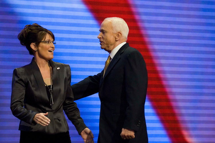 MINNEAPOLIS/ST. PAUL, MN: Sept. 04 --  Vice presidential candidate Sarah Palin joins John McCain on stage after he accepted the Republican Party's nomination for president in a speech before the Republican National Convention on Sept. 4, 2008 at the Xcel Energy Center in St. Paul, Minn. (Scott J. Ferrell / Congressional Quarterly)