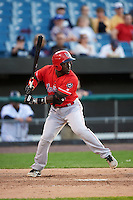 Louisville Bats second baseman Jermaine Curtis (1) at bat during a game against the Syracuse Chiefs on June 6, 2016 at NBT Bank Stadium in Syracuse, New York.  Syracuse defeated Louisville 3-1.  (Mike Janes/Four Seam Images)