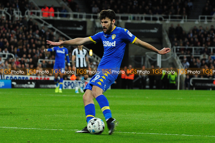 Alfonso Pedraza of Leeds United shoots during Newcastle United vs Leeds United, Sky Bet EFL Championship Football at St. James' Park on 14th April 2017