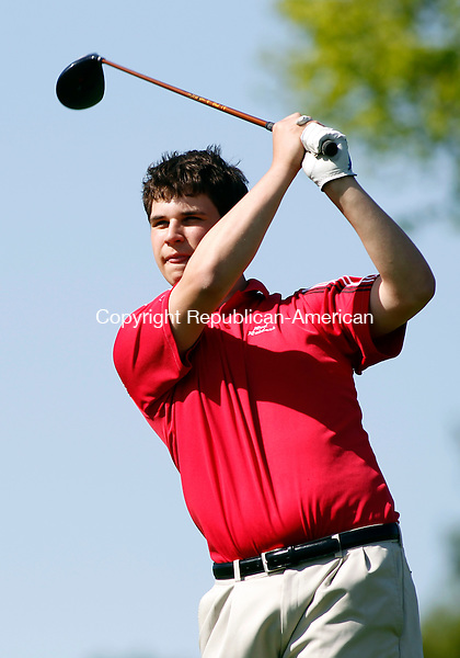 Goshen, CT-18 May 2012-051712CM07-  Torrington's Nick Tedesco follows his after teeing off at the 5th hole at the Torrington Country Club Thursday afternoon in Goshen.    Christopher Massa Republican-American