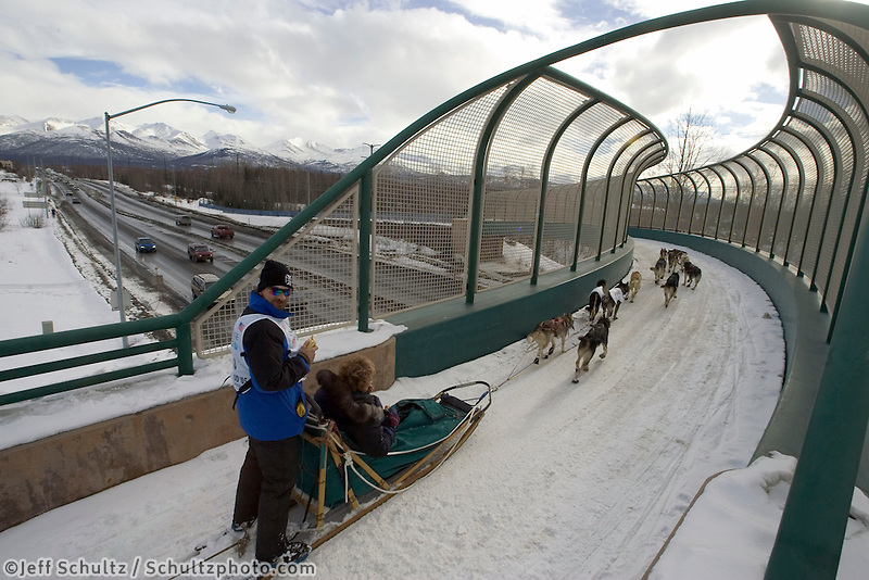Lance Mackey Crossing Tudor Bridge Iditarod 2005 Ceremonial Start AK Anchorage
