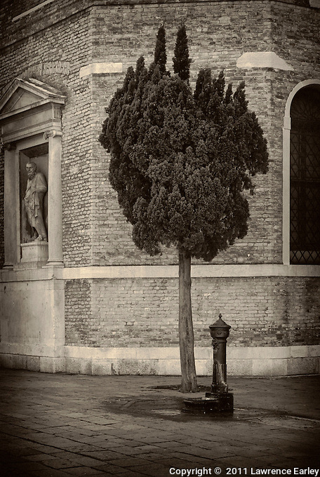 Water fountain, tree and church in Campo San Polo, Venice.