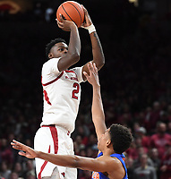 NWA Democrat-Gazette/J.T. WAMPLER Arkansas' Adrio Bailey takes a shot over a Florida defender Wednesday Jan. 9, 2019 at Bud Walton Arena in Fayetteville.