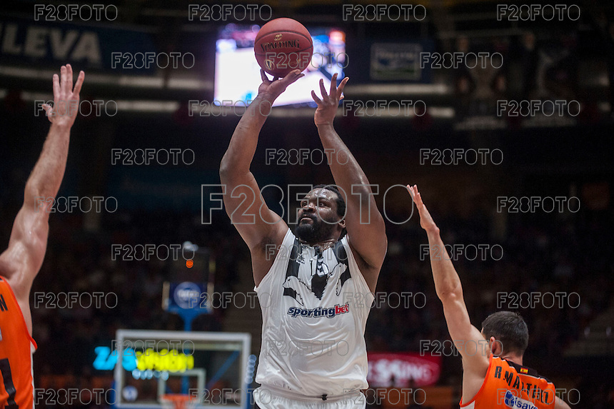 VALENCIA, SPAIN - JANUARY 6: Sofoklis Schortsanitis during EUROCUP match between Valencia Basket and PAOK Thessaloniki at Fonteta Stadium on January 6, 2015 in Valencia, Spain