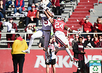 NWA Democrat-Gazette/CHARLIE KAIJO Mississippi State wide receiver Osirus Mitchell (5) scores as Arkansas defensive back LaDarrius Bishop (24) covers, Saturday, November 2, 2019 during the first quarter of a football game at Donald W. Reynolds Razorback Stadium in Fayetteville. Visit nwadg.com/photos to see more photographs from the game.
