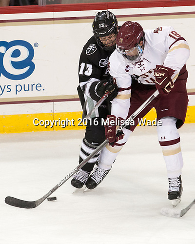 Garrett Gamez (PC - 13), Colin White (BC - 18) - The Boston College Eagles defeated the visiting Providence College Friars 3-1 on Friday, October 28, 2016, at Kelley Rink in Conte Forum in Chestnut Hill, Massachusetts.The Boston College Eagles defeated the visiting Providence College Friars 3-1 on Friday, October 28, 2016, at Kelley Rink in Conte Forum in Chestnut Hill, Massachusetts.