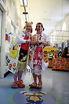 Lucy Wilkinson, alias Dr Looloo, and Sally Rigley, alias Dr Hunny, at the end of the session in the oncology ward of the Royal Manchester Children hospital. Six other wards will be visited during the day.