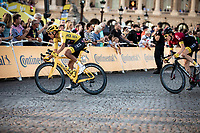 Yellow Jersey Egan Bernal (COL/Ineos) and Geraint Thomas (GBR/Ineos) riding the Champs-Elysées cobbles. <br /> <br /> Stage 21: Rambouillet to Paris (128km)<br /> 106th Tour de France 2019 (2.UWT)<br /> <br /> ©kramon
